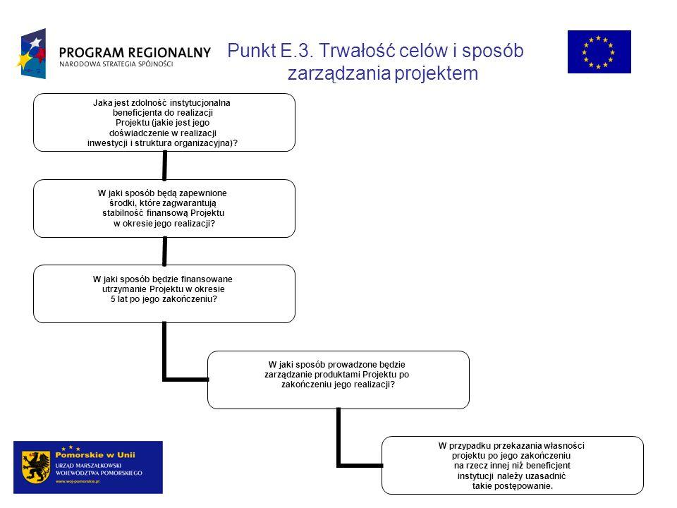 Punkt E.3. Trwałość celów i sposób zarządzania projektem Jaka jest zdolność instytucjonalna beneficjenta do realizacji Projektu (jakie jest jego doświ