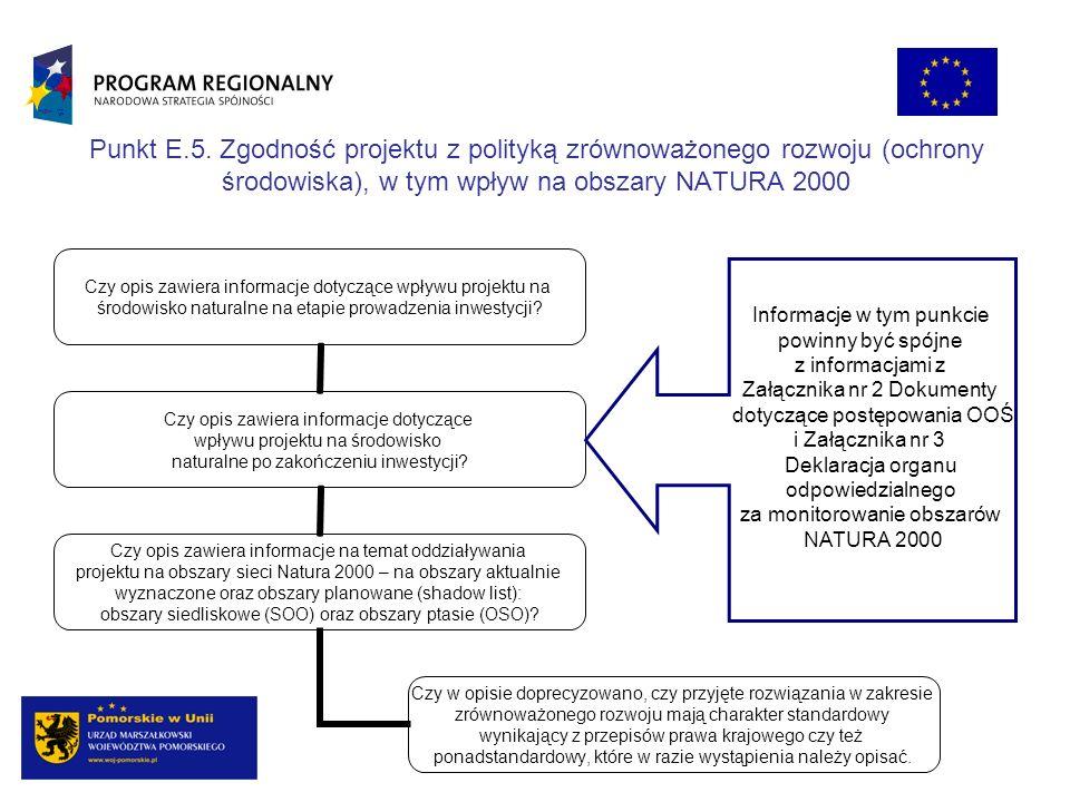 Punkt E.5. Zgodność projektu z polityką zrównoważonego rozwoju (ochrony środowiska), w tym wpływ na obszary NATURA 2000 Czy opis zawiera informacje do