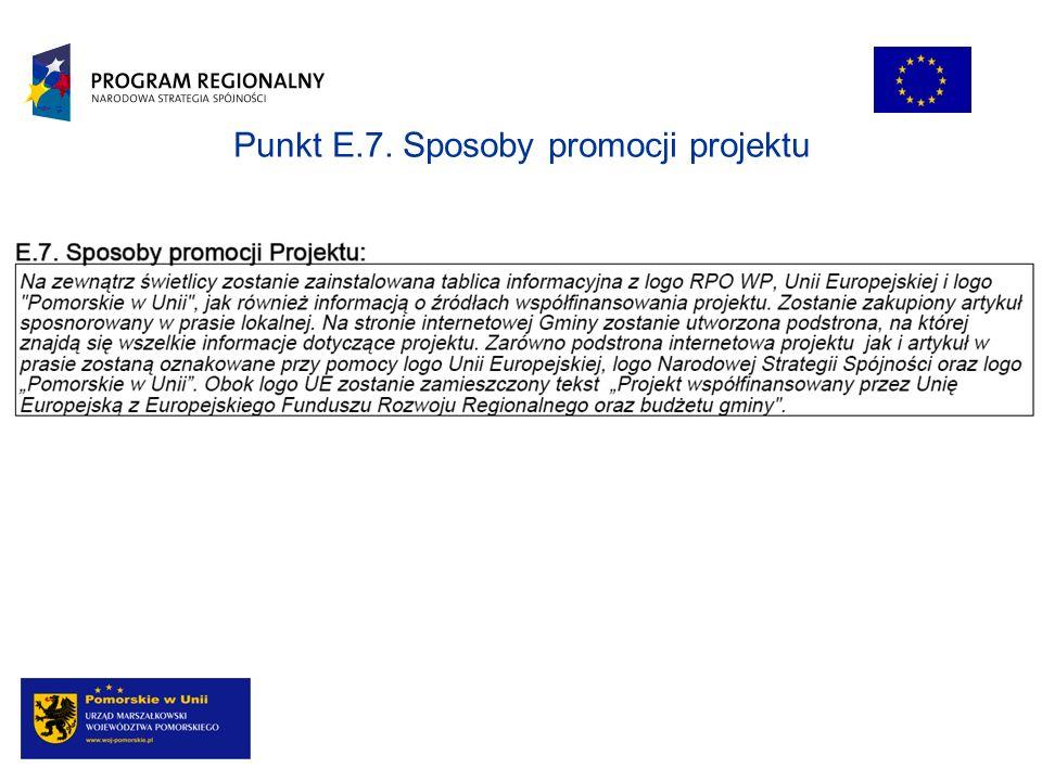 Punkt E.7. Sposoby promocji projektu