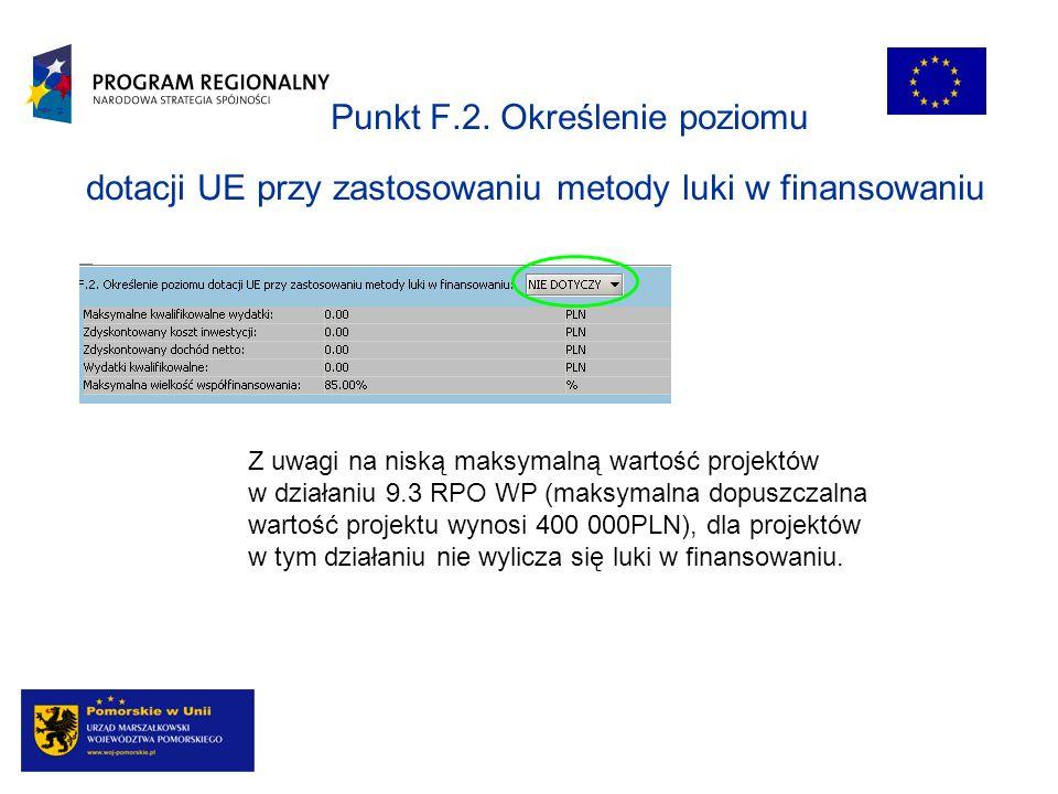 Punkt F.2. Określenie poziomu dotacji UE przy zastosowaniu metody luki w finansowaniu Z uwagi na niską maksymalną wartość projektów w działaniu 9.3 RP
