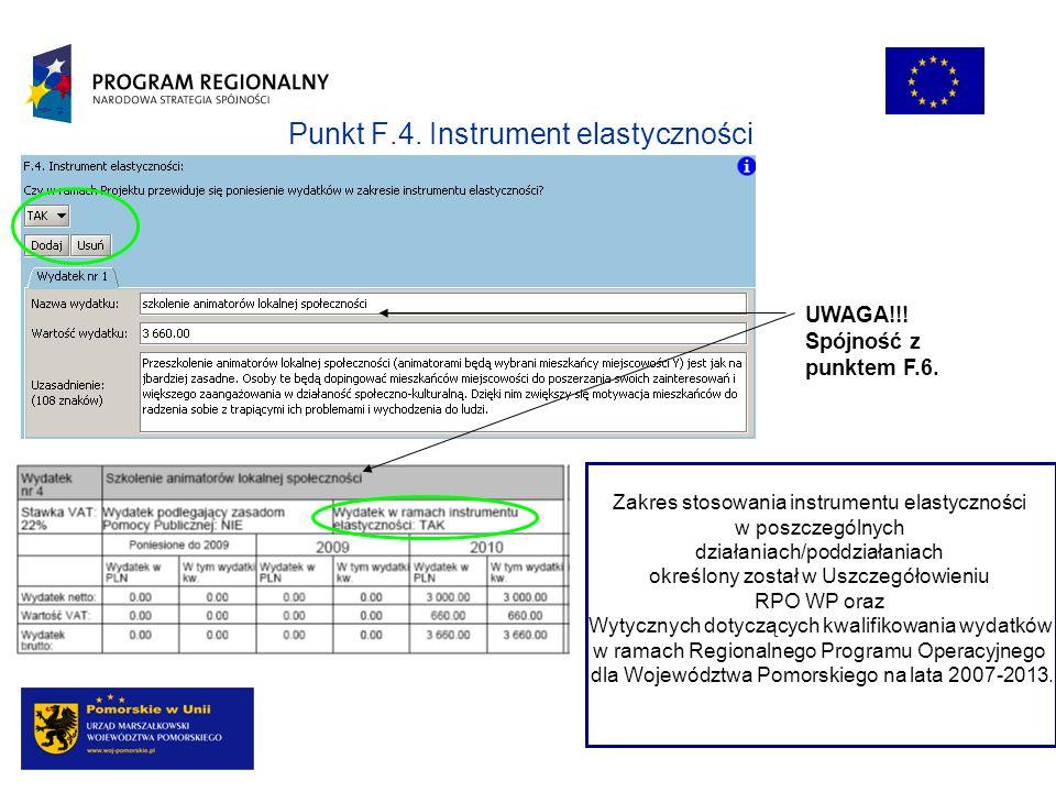 Punkt F.4. Instrument elastyczności Zakres stosowania instrumentu elastyczności w poszczególnych działaniach/poddziałaniach określony został w Uszczeg