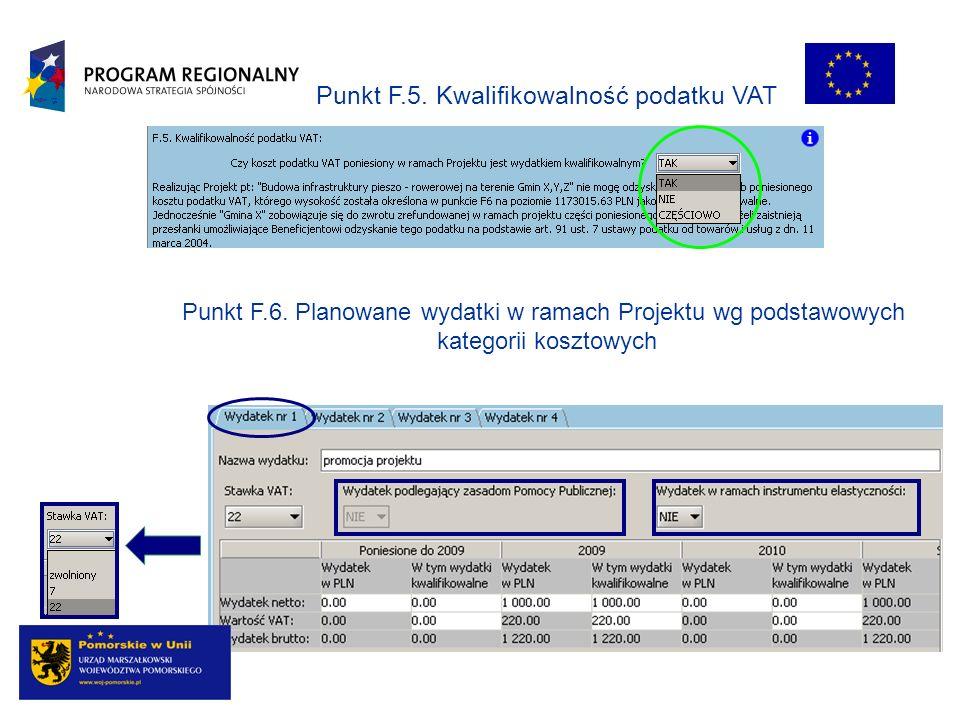 Punkt F.5. Kwalifikowalność podatku VAT Punkt F.6. Planowane wydatki w ramach Projektu wg podstawowych kategorii kosztowych