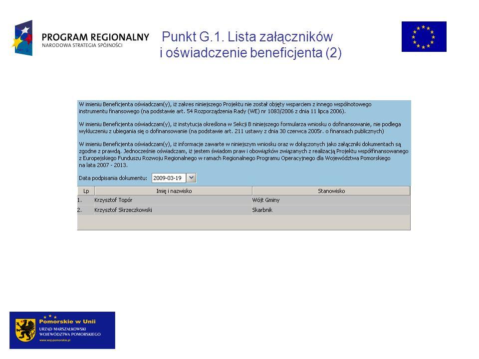 Punkt G.1. Lista załączników i oświadczenie beneficjenta (2)