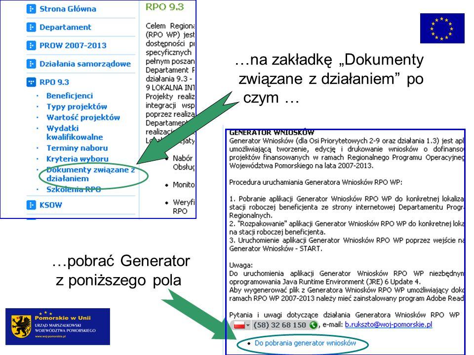 …na zakładkę Dokumenty związane z działaniem po czym … …pobrać Generator z poniższego pola