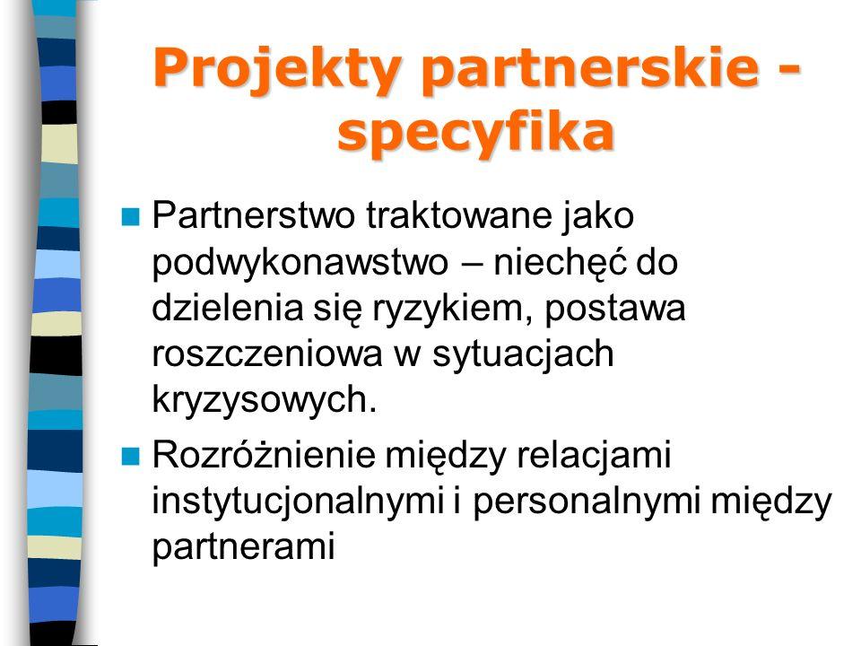 Projekty partnerskie - specyfika Partnerstwo traktowane jako podwykonawstwo – niechęć do dzielenia się ryzykiem, postawa roszczeniowa w sytuacjach kryzysowych.