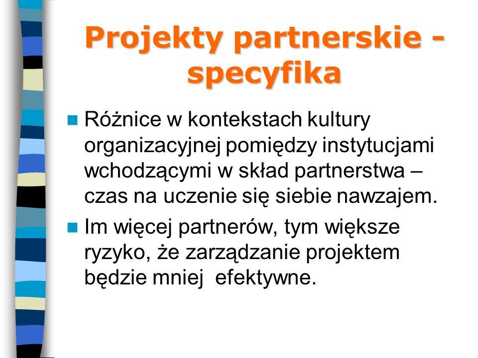 Projekty partnerskie - specyfika Różnice w kontekstach kultury organizacyjnej pomiędzy instytucjami wchodzącymi w skład partnerstwa – czas na uczenie się siebie nawzajem.
