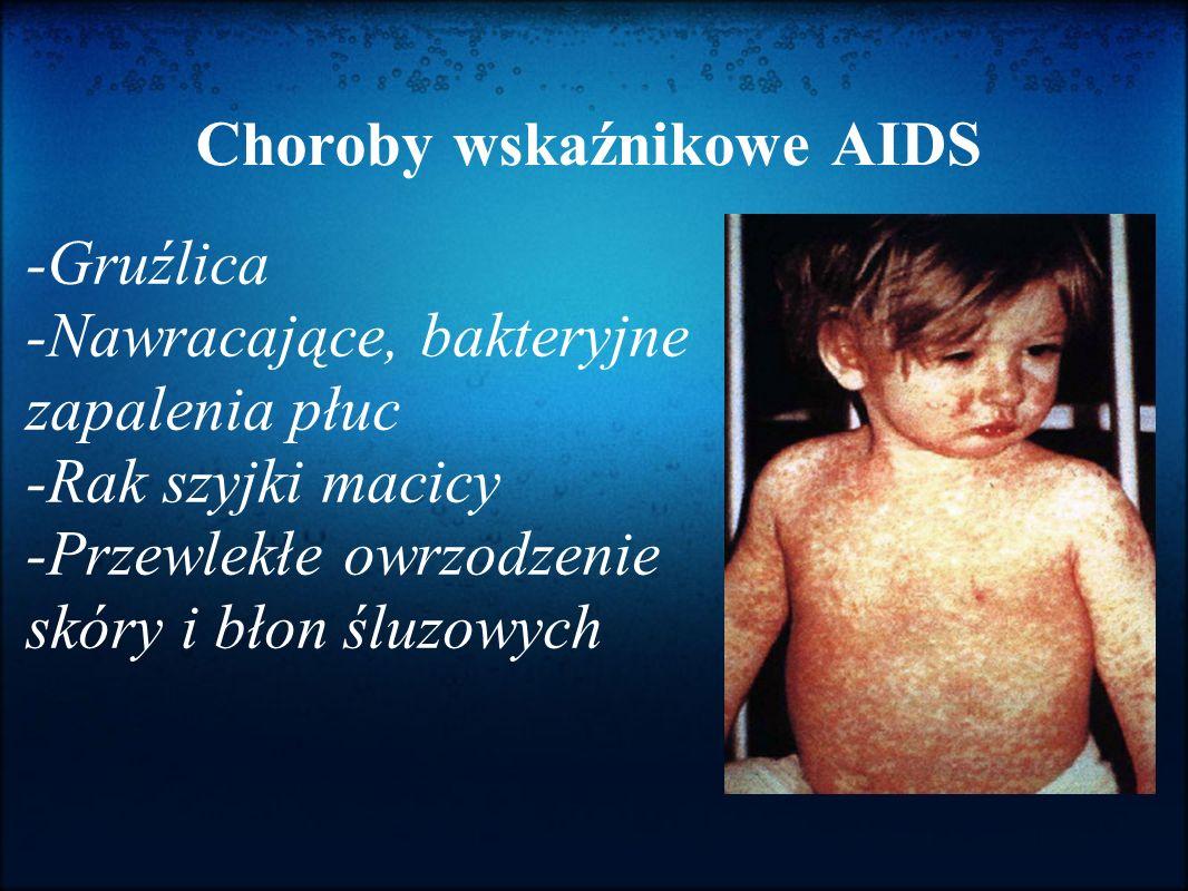 Choroby wskaźnikowe AIDS -Gruźlica -Nawracające, bakteryjne zapalenia płuc -Rak szyjki macicy -Przewlekłe owrzodzenie skóry i błon śluzowych
