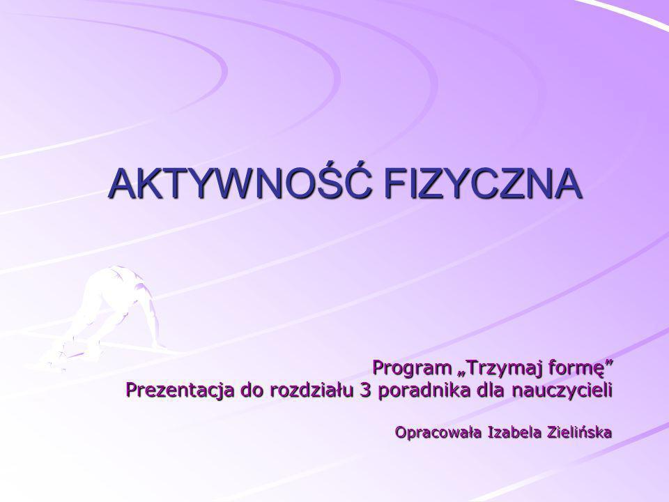 AKTYWNOŚĆ FIZYCZNA Program Trzymaj formę Prezentacja do rozdziału 3 poradnika dla nauczycieli Opracowała Izabela Zielińska