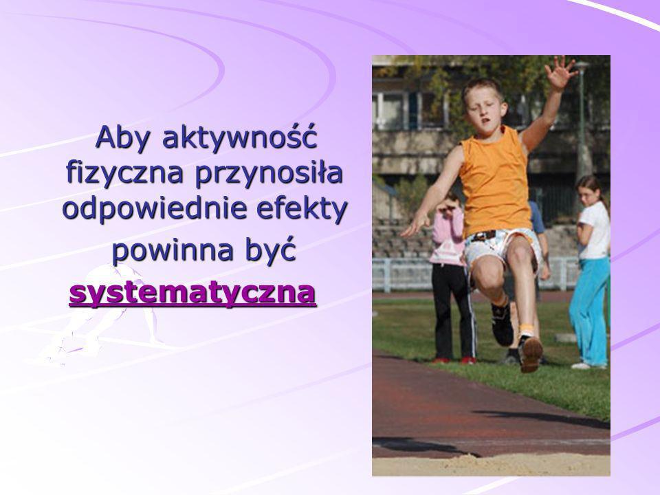 Aby aktywność fizyczna przynosiła odpowiednie efekty Aby aktywność fizyczna przynosiła odpowiednie efekty powinna być powinna byćsystematyczna