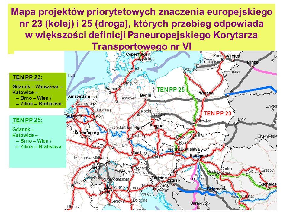 10 Mapa projektów priorytetowych znaczenia europejskiego nr 23 (kolej) i 25 (droga), których przebieg odpowiada w większości definicji Paneuropejskieg