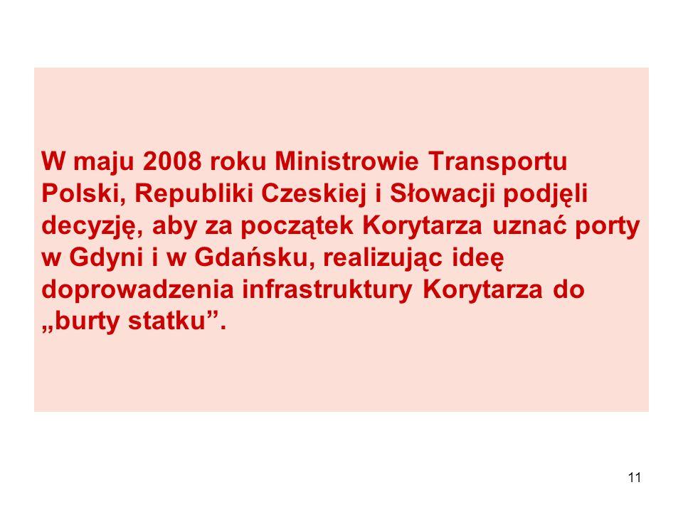 11 W maju 2008 roku Ministrowie Transportu Polski, Republiki Czeskiej i Słowacji podjęli decyzję, aby za początek Korytarza uznać porty w Gdyni i w Gd