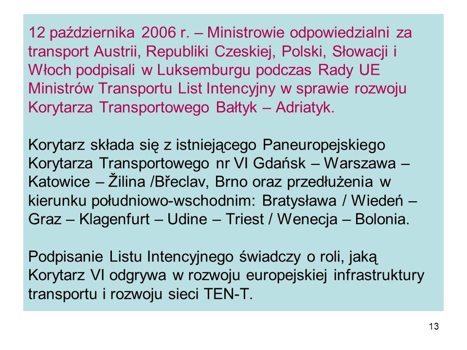 13 12 października 2006 r. – Ministrowie odpowiedzialni za transport Austrii, Republiki Czeskiej, Polski, Słowacji i Włoch podpisali w Luksemburgu pod