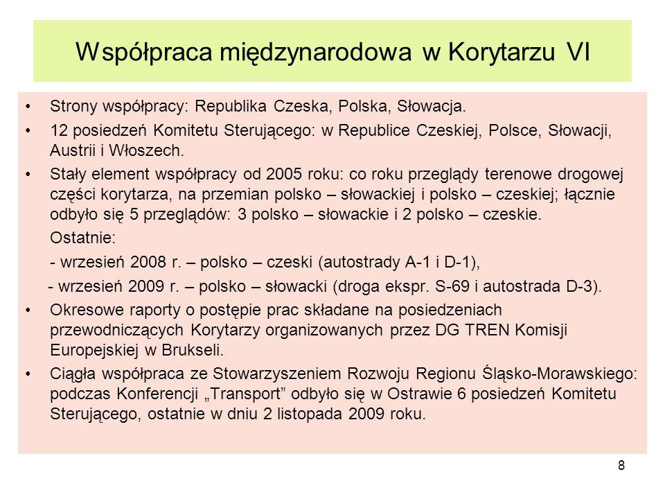 8 Współpraca międzynarodowa w Korytarzu VI Strony współpracy: Republika Czeska, Polska, Słowacja. 12 posiedzeń Komitetu Sterującego: w Republice Czesk