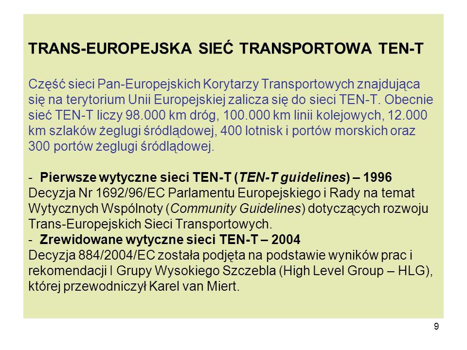 9 TRANS-EUROPEJSKA SIEĆ TRANSPORTOWA TEN-T Część sieci Pan-Europejskich Korytarzy Transportowych znajdująca się na terytorium Unii Europejskiej zalicz