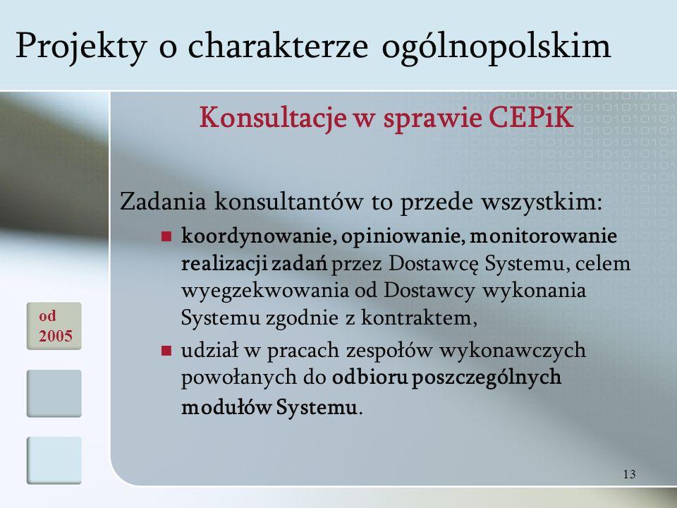 13 Konsultacje w sprawie CEPiK Zadania konsultantów to przede wszystkim: koordynowanie, opiniowanie, monitorowanie realizacji zadań przez Dostawcę Systemu, celem wyegzekwowania od Dostawcy wykonania Systemu zgodnie z kontraktem, udział w pracach zespołów wykonawczych powołanych do odbioru poszczególnych modułów Systemu.