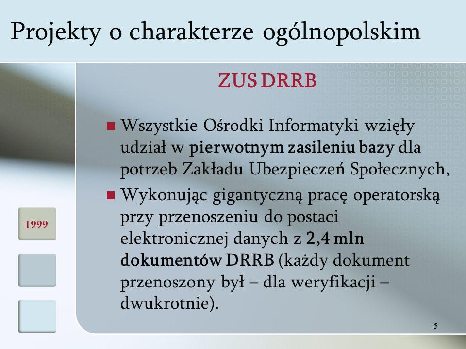 5 ZUS DRRB Wszystkie Ośrodki Informatyki wzięły udział w pierwotnym zasileniu bazy dla potrzeb Zakładu Ubezpieczeń Społecznych, Wykonując gigantyczną pracę operatorską przy przenoszeniu do postaci elektronicznej danych z 2,4 mln dokumentów DRRB (każdy dokument przenoszony był – dla weryfikacji – dwukrotnie).