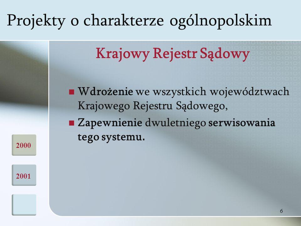 6 Krajowy Rejestr Sądowy Wdrożenie we wszystkich województwach Krajowego Rejestru Sądowego, Zapewnienie dwuletniego serwisowania tego systemu.