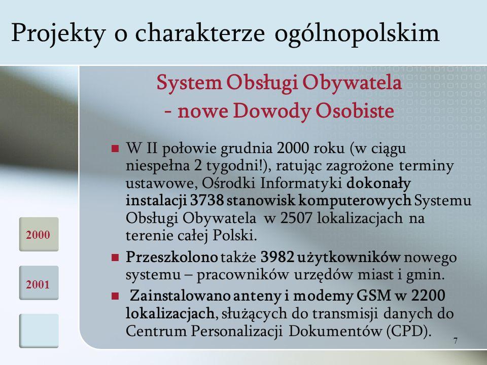 7 System Obsługi Obywatela - nowe Dowody Osobiste W II połowie grudnia 2000 roku (w ciągu niespełna 2 tygodni!), ratując zagrożone terminy ustawowe, Ośrodki Informatyki dokonały instalacji 3738 stanowisk komputerowych Systemu Obsługi Obywatela w 2507 lokalizacjach na terenie całej Polski.