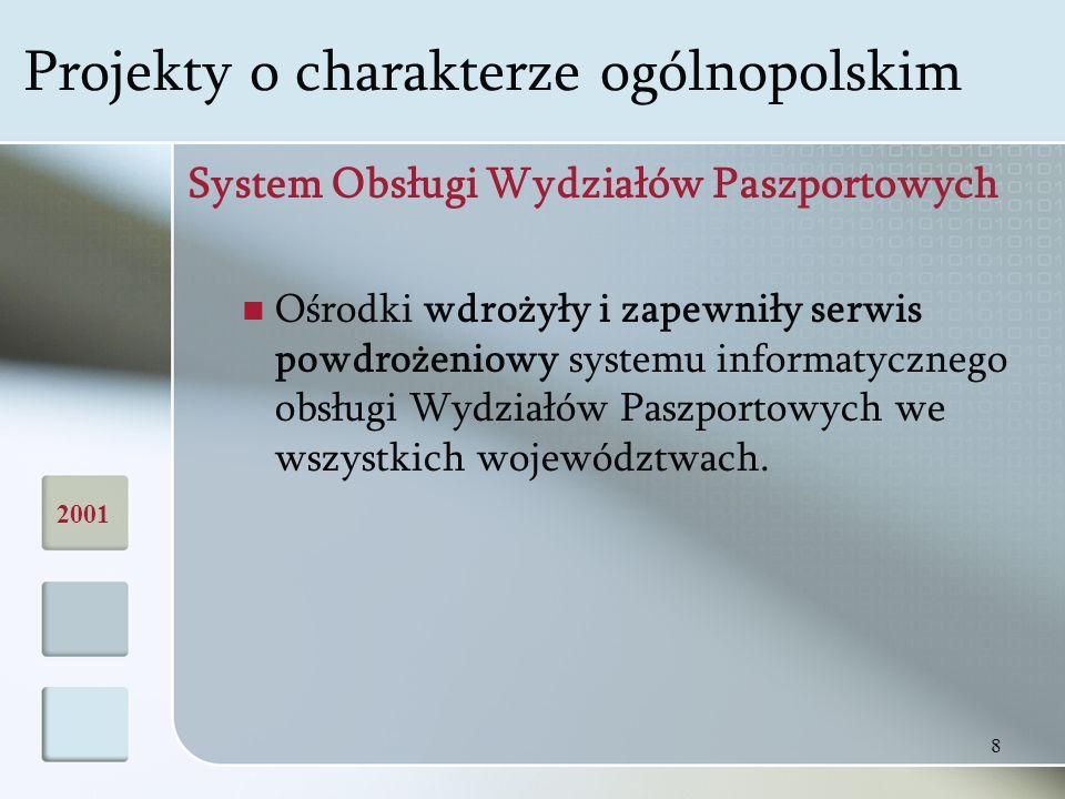 8 System Obsługi Wydziałów Paszportowych Ośrodki wdrożyły i zapewniły serwis powdrożeniowy systemu informatycznego obsługi Wydziałów Paszportowych we wszystkich województwach.