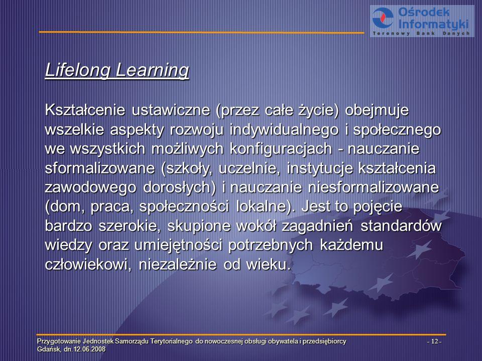 Przygotowanie Jednostek Samorządu Terytorialnego do nowoczesnej obsługi obywatela i przedsiębiorcy Gdańsk, dn.12.06.2008 - 12 - Lifelong Learning Kształcenie ustawiczne (przez całe życie) obejmuje wszelkie aspekty rozwoju indywidualnego i społecznego we wszystkich możliwych konfiguracjach - nauczanie sformalizowane (szkoły, uczelnie, instytucje kształcenia zawodowego dorosłych) i nauczanie niesformalizowane (dom, praca, społeczności lokalne).