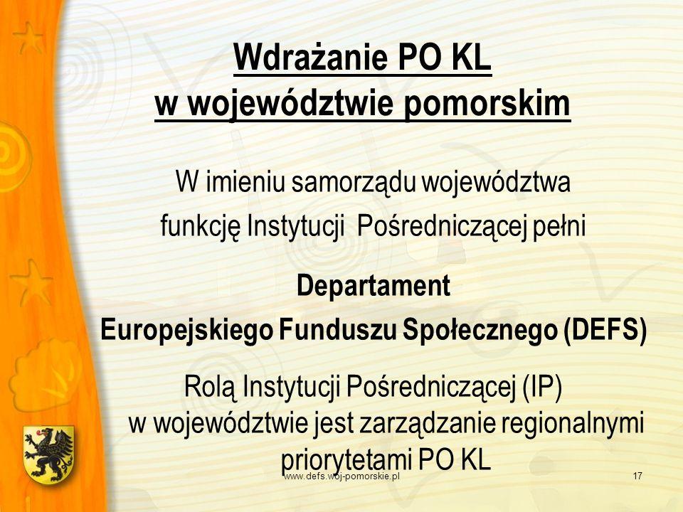 www.defs.woj-pomorskie.pl17 Wdrażanie PO KL w województwie pomorskim W imieniu samorządu województwa funkcję Instytucji Pośredniczącej pełni Departame