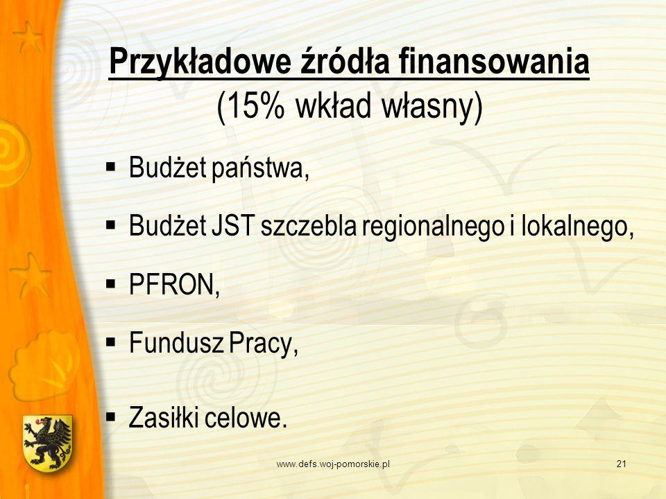 www.defs.woj-pomorskie.pl21 Przykładowe źródła finansowania (15% wkład własny) Budżet państwa, Budżet JST szczebla regionalnego i lokalnego, PFRON, Fu