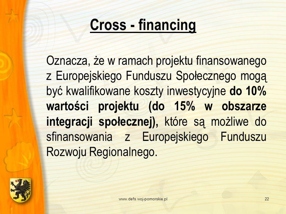 www.defs.woj-pomorskie.pl22 Cross - financing Oznacza, że w ramach projektu finansowanego z Europejskiego Funduszu Społecznego mogą być kwalifikowane
