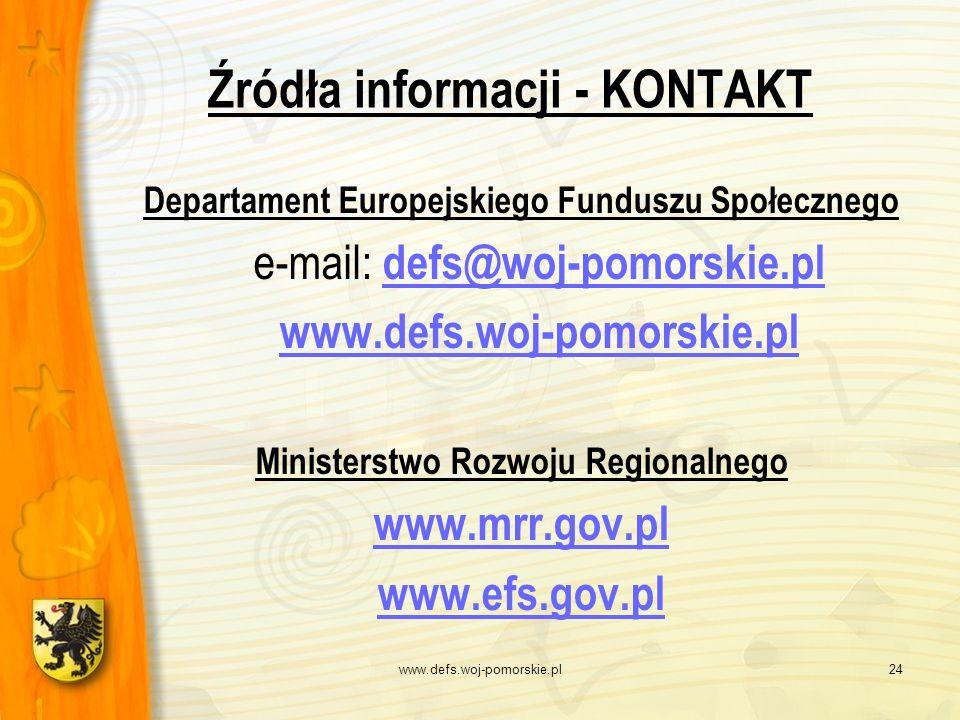 www.defs.woj-pomorskie.pl24 Źródła informacji - KONTAKT Departament Europejskiego Funduszu Społecznego e-mail: defs@woj-pomorskie.pl defs@woj-pomorski