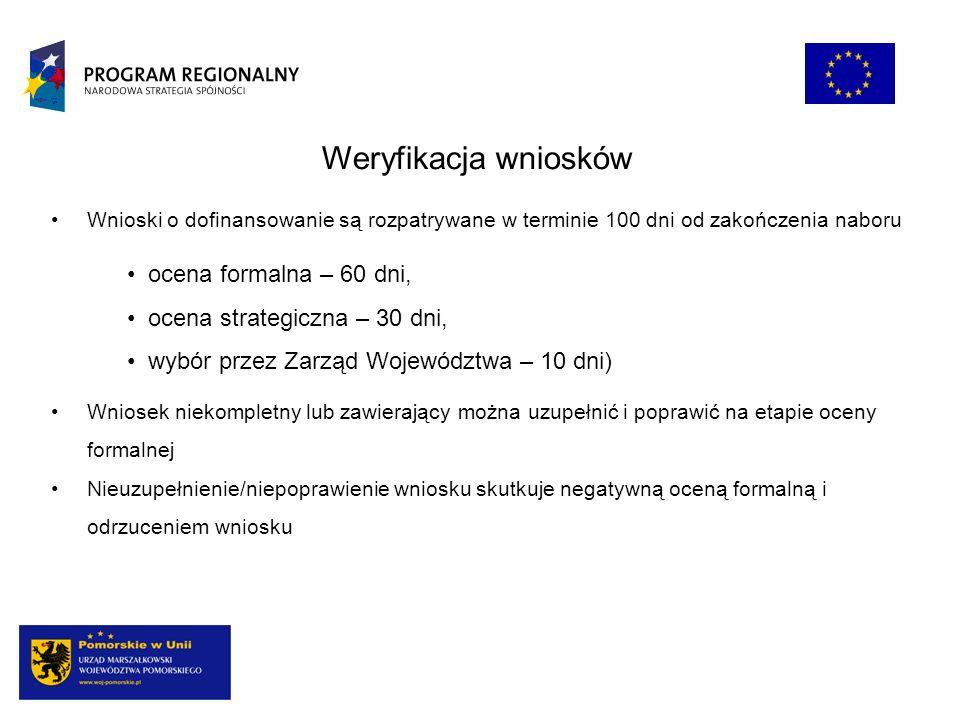 ocena formalna – 60 dni, ocena strategiczna – 30 dni, wybór przez Zarząd Województwa – 10 dni) Weryfikacja wniosków Wnioski o dofinansowanie są rozpat