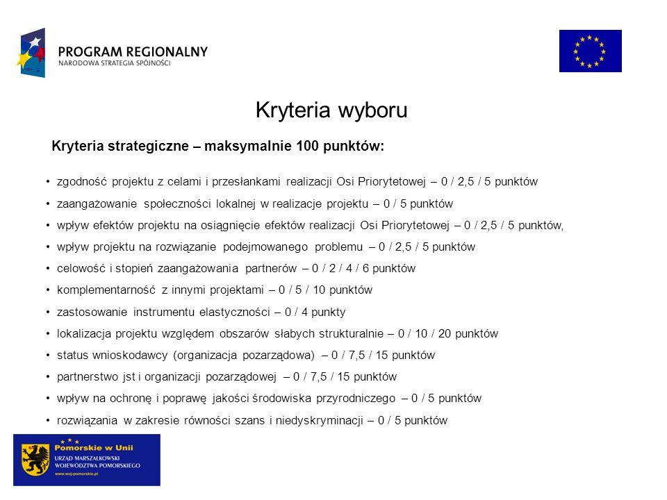 Kryteria wyboru zgodność projektu z celami i przesłankami realizacji Osi Priorytetowej – 0 / 2,5 / 5 punktów zaangażowanie społeczności lokalnej w rea