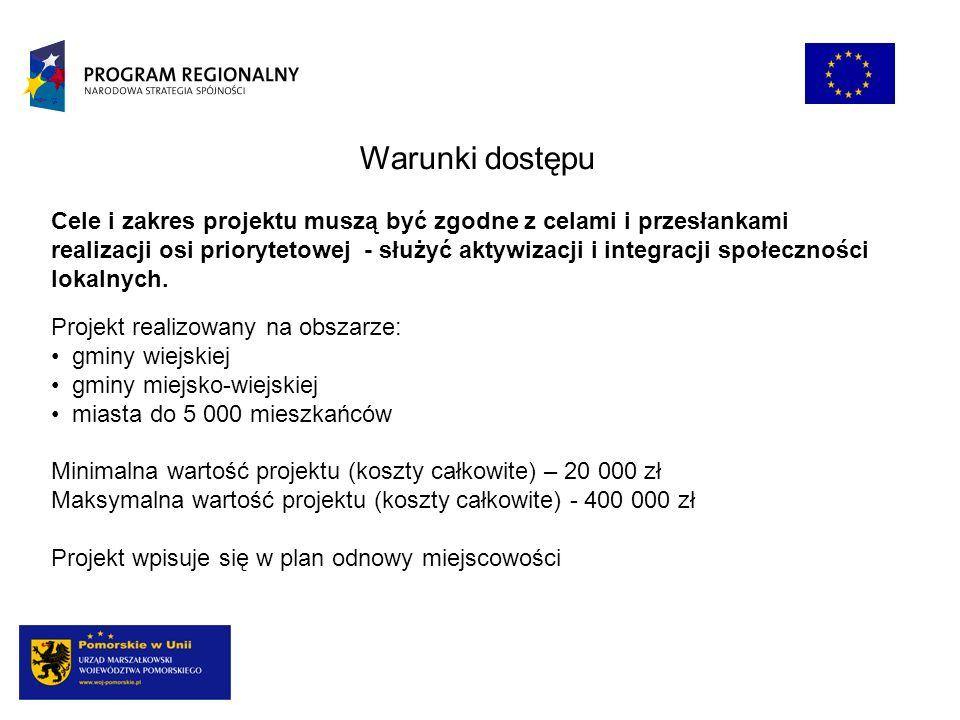 Warunki dostępu Projekt realizowany na obszarze: gminy wiejskiej gminy miejsko-wiejskiej miasta do 5 000 mieszkańców Minimalna wartość projektu (koszt
