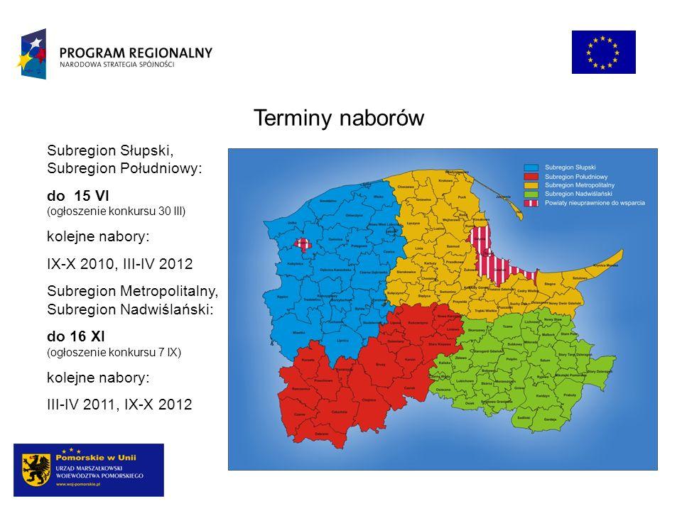 Terminy naborów Subregion Słupski, Subregion Południowy: do 15 VI (ogłoszenie konkursu 30 III) kolejne nabory: IX-X 2010, III-IV 2012 Subregion Metrop