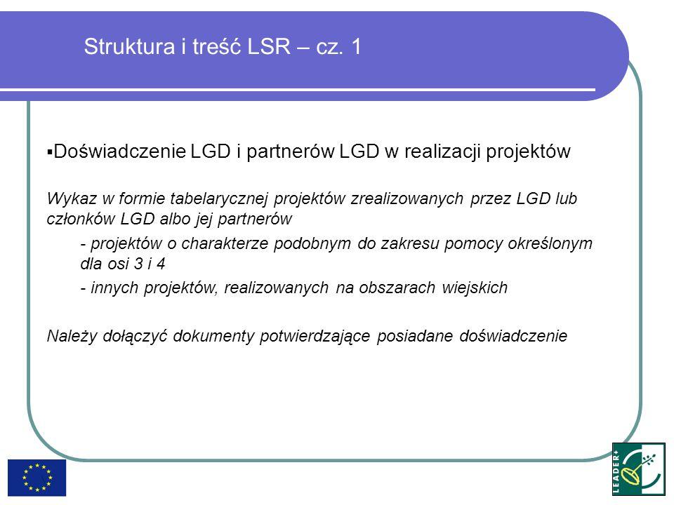 Doświadczenie LGD i partnerów LGD w realizacji projektów Wykaz w formie tabelarycznej projektów zrealizowanych przez LGD lub członków LGD albo jej par