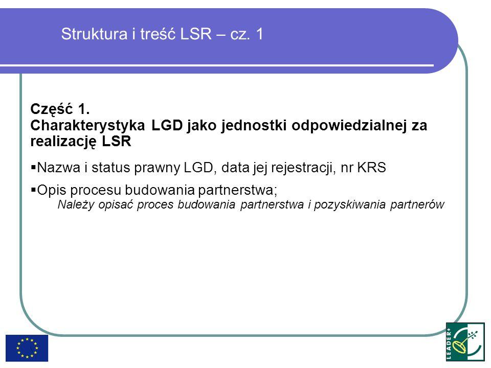 Część 1. Charakterystyka LGD jako jednostki odpowiedzialnej za realizację LSR Nazwa i status prawny LGD, data jej rejestracji, nr KRS Opis procesu bud