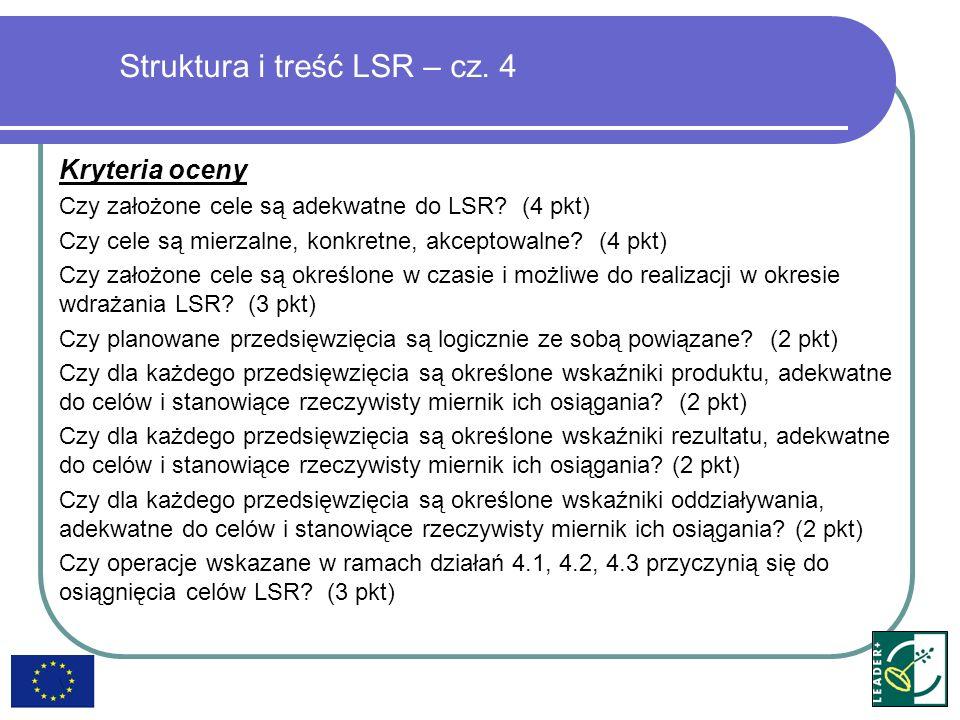 Struktura i treść LSR – cz. 4 Kryteria oceny Czy założone cele są adekwatne do LSR? (4 pkt) Czy cele są mierzalne, konkretne, akceptowalne? (4 pkt) Cz