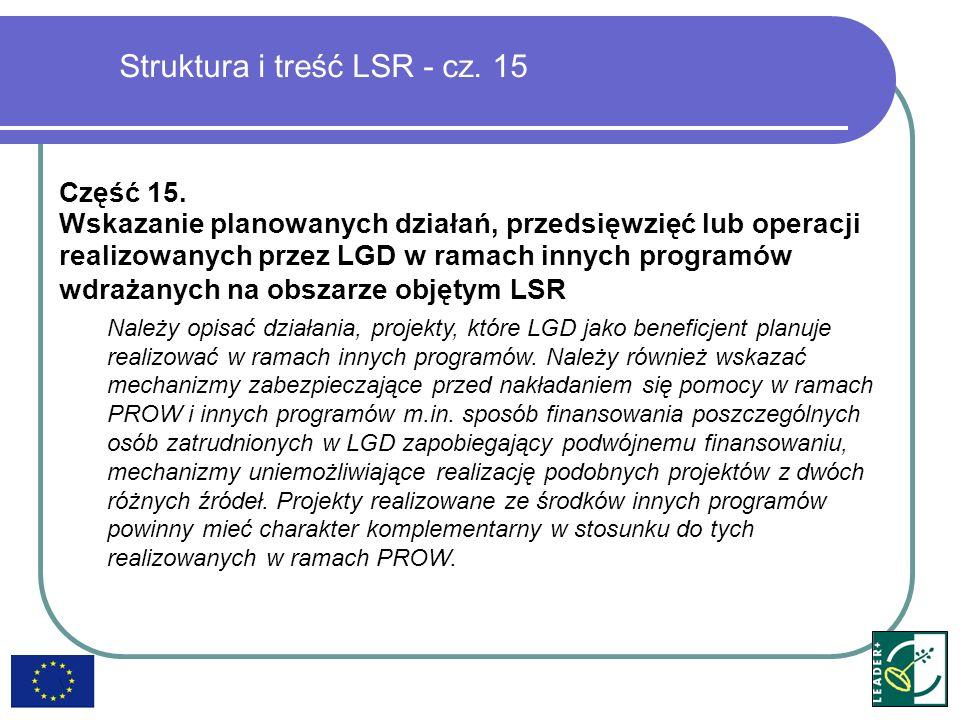 Struktura i treść LSR - cz. 15 Część 15. Wskazanie planowanych działań, przedsięwzięć lub operacji realizowanych przez LGD w ramach innych programów w