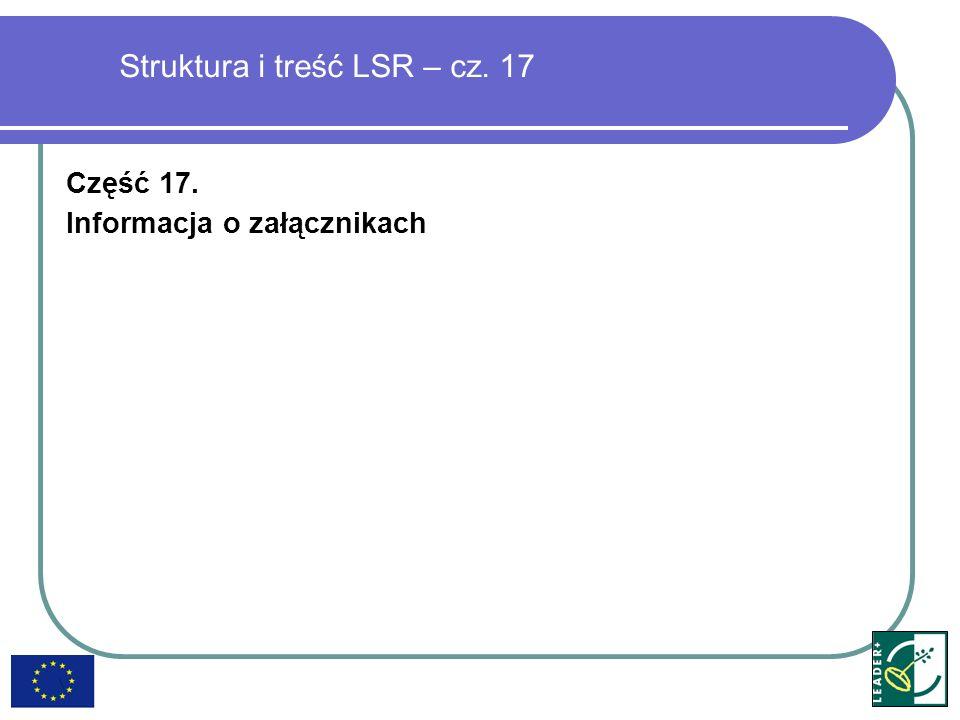 Struktura i treść LSR – cz. 17 Część 17. Informacja o załącznikach
