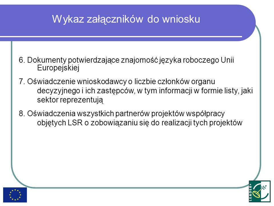 Wykaz załączników do wniosku 6. Dokumenty potwierdzające znajomość języka roboczego Unii Europejskiej 7. Oświadczenie wnioskodawcy o liczbie członków