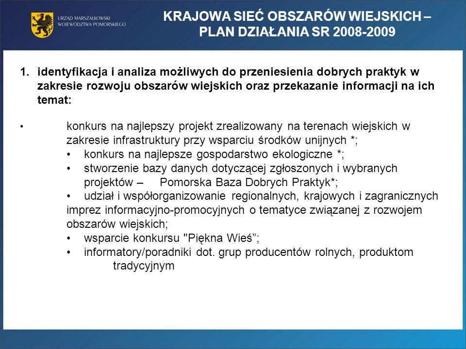 KRAJOWA SIEĆ OBSZARÓW WIEJSKICH – PLAN DZIAŁANIA SR 2008-2009 1.identyfikacja i analiza możliwych do przeniesienia dobrych praktyk w zakresie rozwoju obszarów wiejskich oraz przekazanie informacji na ich temat: konkurs na najlepszy projekt zrealizowany na terenach wiejskich w zakresie infrastruktury przy wsparciu środków unijnych *; konkurs na najlepsze gospodarstwo ekologiczne *; stworzenie bazy danych dotyczącej zgłoszonych i wybranych projektów – Pomorska Baza Dobrych Praktyk*; udział i współorganizowanie regionalnych, krajowych i zagranicznych imprez informacyjno-promocyjnych o tematyce związanej z rozwojem obszarów wiejskich; wsparcie konkursu Piękna Wieś; informatory/poradniki dot.