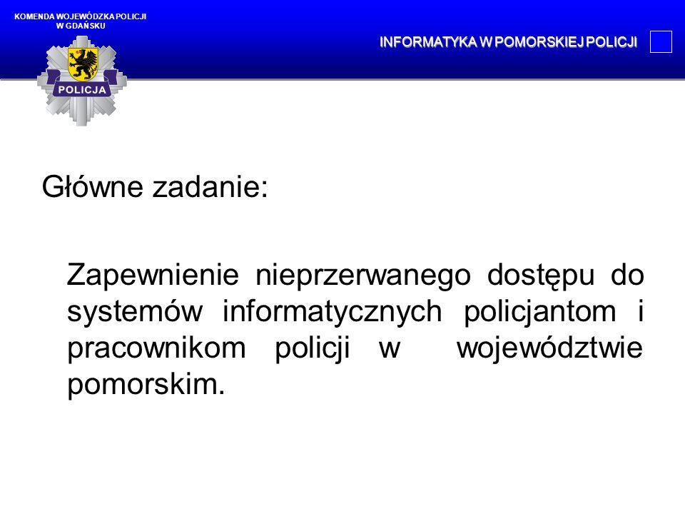 Główne zadanie: Zapewnienie nieprzerwanego dostępu do systemów informatycznych policjantom i pracownikom policji w województwie pomorskim. KOMENDA WOJ