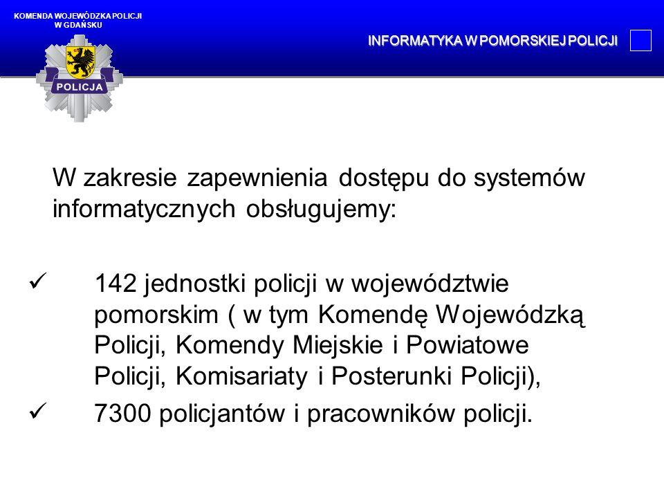 Policjanci i pracownicy policji wykorzystują w codziennej pracy: 1098 stacji dostępowych do policyjnych systemów informacyjnych, 2143 komputery, 638 mobilnych terminali noszonych, 220 mobilnych terminali przewoźnych.