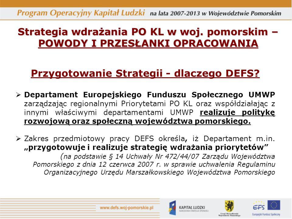 Strategia wdrażania PO KL w woj.