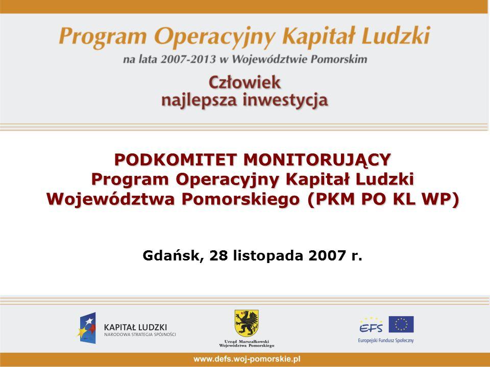 PODKOMITET MONITORUJĄCY Program Operacyjny Kapitał Ludzki Województwa Pomorskiego (PKM PO KL WP) PODKOMITET MONITORUJĄCY Program Operacyjny Kapitał Ludzki Województwa Pomorskiego (PKM PO KL WP) Gdańsk, 28 listopada 2007 r.
