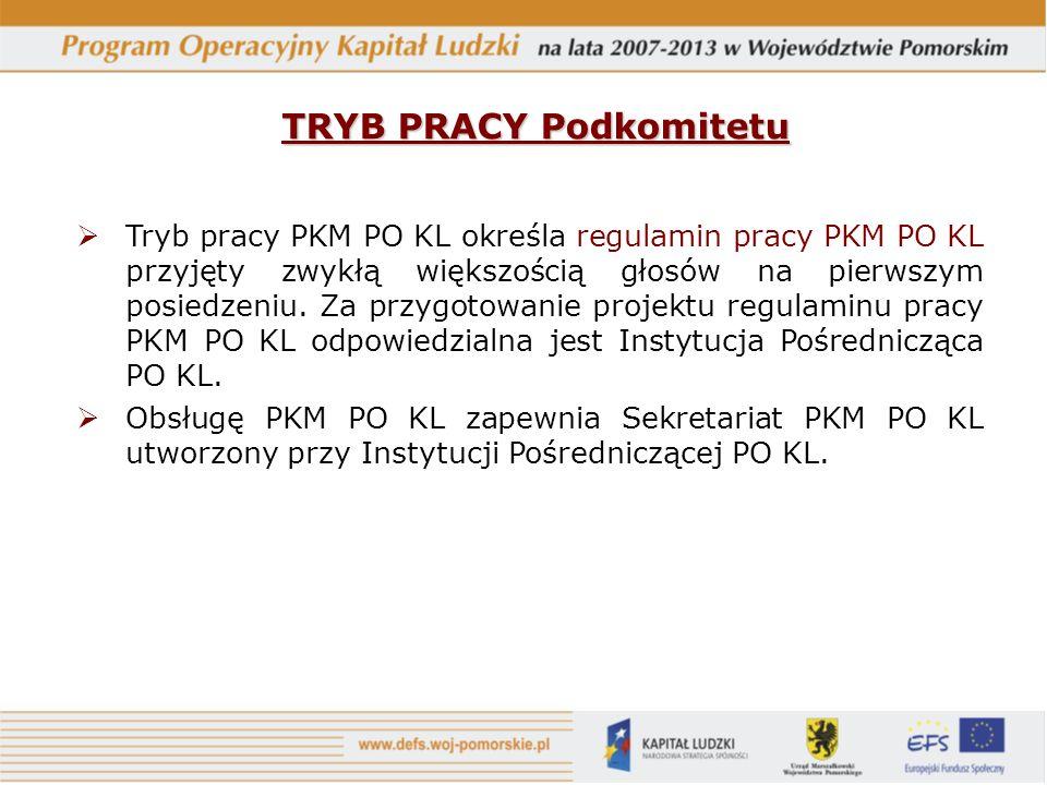 Tryb pracy PKM PO KL określa regulamin pracy PKM PO KL przyjęty zwykłą większością głosów na pierwszym posiedzeniu.