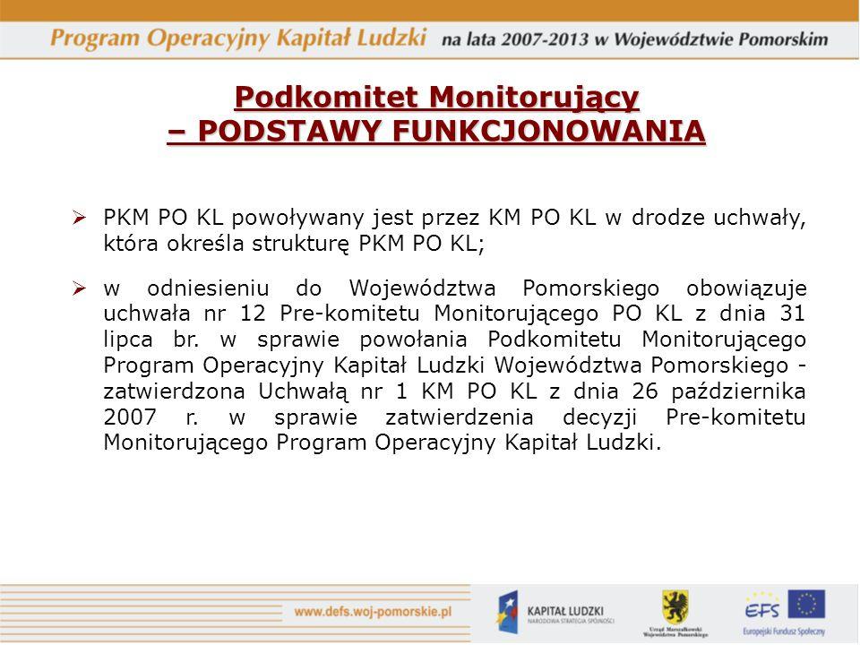 PKM PO KL powoływany jest przez KM PO KL w drodze uchwały, która określa strukturę PKM PO KL; w odniesieniu do Województwa Pomorskiego obowiązuje uchwała nr 12 Pre-komitetu Monitorującego PO KL z dnia 31 lipca br.