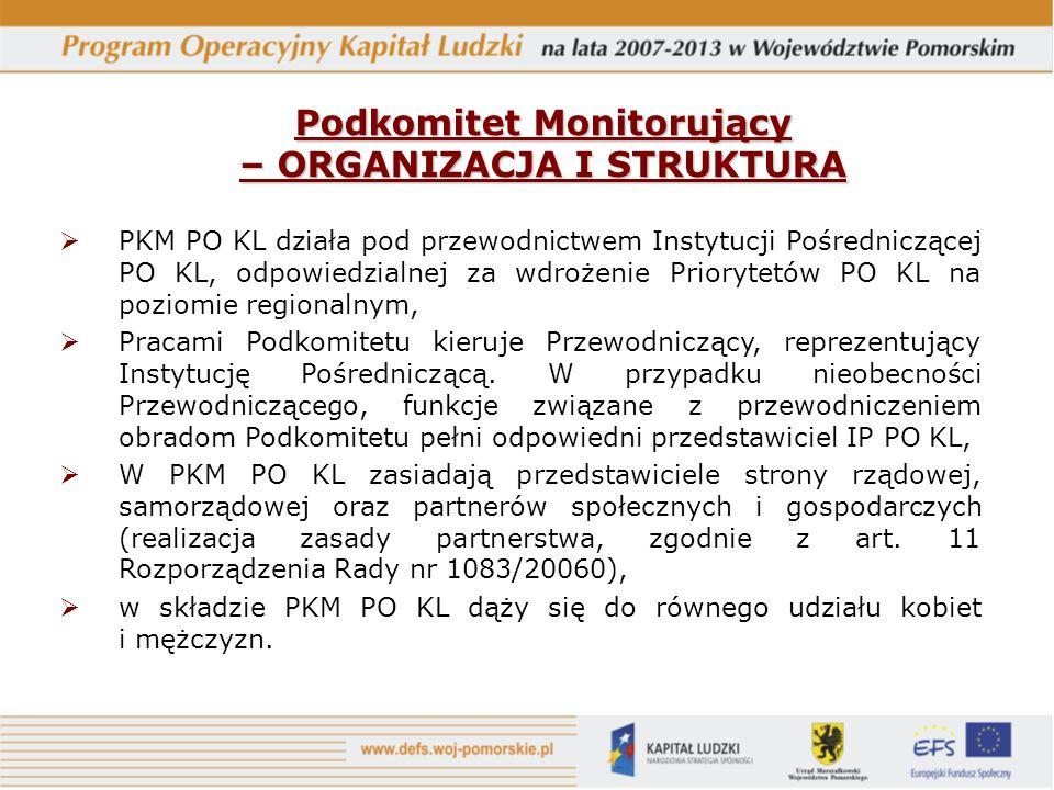 PKM PO KL działa pod przewodnictwem Instytucji Pośredniczącej PO KL, odpowiedzialnej za wdrożenie Priorytetów PO KL na poziomie regionalnym, Pracami Podkomitetu kieruje Przewodniczący, reprezentujący Instytucję Pośredniczącą.