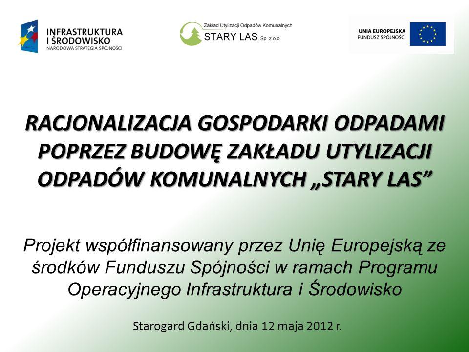 Starogard Gdański, dnia 12 maja 2012 r. RACJONALIZACJA GOSPODARKI ODPADAMI POPRZEZ BUDOWĘ ZAKŁADU UTYLIZACJI ODPADÓW KOMUNALNYCH STARY LAS Projekt wsp