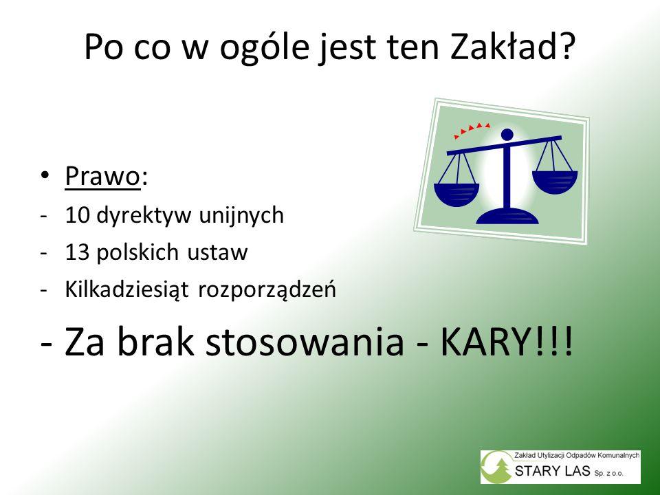 Po co w ogóle jest ten Zakład? Prawo: -10 dyrektyw unijnych -13 polskich ustaw -Kilkadziesiąt rozporządzeń -Za brak stosowania - KARY!!!