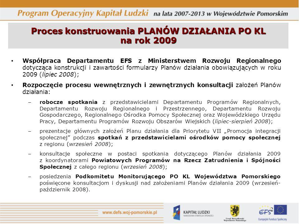 2 Proces konstruowania PLANÓW DZIAŁANIA PO KL na rok 2009 Współpraca Departamentu EFS z Ministerstwem Rozwoju Regionalnego dotycząca konstrukcji i zaw