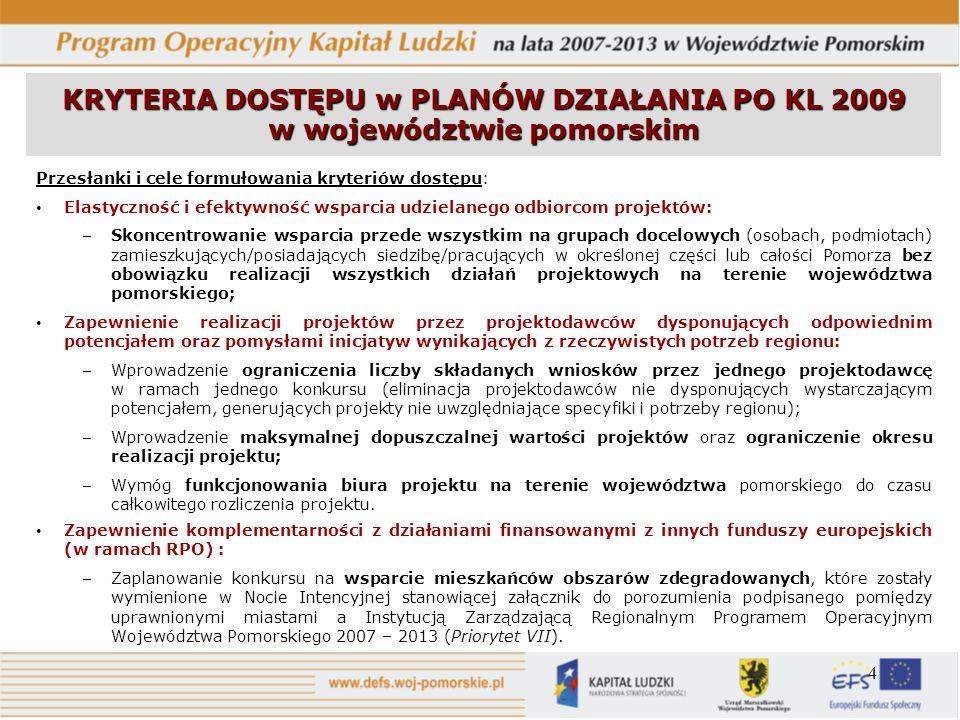 4 KRYTERIA DOSTĘPU w PLANÓW DZIAŁANIA PO KL 2009 w województwie pomorskim Przesłanki i cele formułowania kryteriów dostępu: Elastyczność i efektywność
